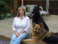 Debbie Connolly with two of her dogs.