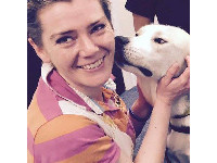 Judith Broug with Service Dogs UK assistance dog, Ajax.