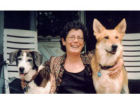 Karen with her dogs Pepper and Zep.