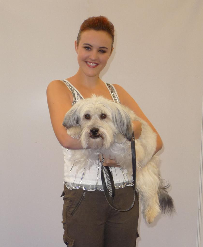 Host Julie got to talk to Ashleigh and Pudsey - hear the interview in episode 149 of DogCast Radio. Tags: Ashleigh and Pudsey canine freestyle doggy dancing heelwork to music The Pet Show