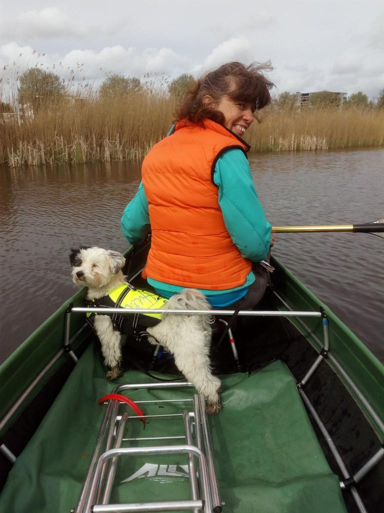 Rocky enjoying a boat trip with Cathy. Tags: boat cute dog love