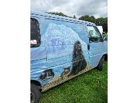 Most Newfie owners end up getting a van - there's no mistaking who rides in this!