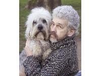Dandie Dinmont enthusiast Paul Keevil with his lookalike dog Crosby. Paul got to the finals of the Crufts Factor with another dog, Jackson.