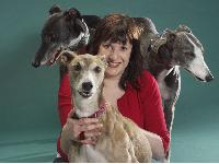 Susan McKeon with her beloved Greyhounds. Photo by Tim Rose, courtesy of Dogs Today magazine.