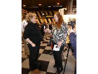Sarah Fisher talking to Julie at Crufts 2013.