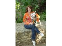 Dawn Antoniak-Mitchell with one of her dogs, Ember.