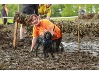 Runner and dog army crawl through mud on the Muddy Dog Challenge.