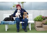 Ali Taylor, Head of Canine Behaviour at Battersea Dogs &amp; Cats Home and star of ITV's Paul O'Grady: For the Love of Dogs, is urging pet owners across the country to take precautions this Bonfire Night to help their pets cope with the stress of fireworks going off.<br /> Ali Taylor with L-R Squirt, Bella and Enid.